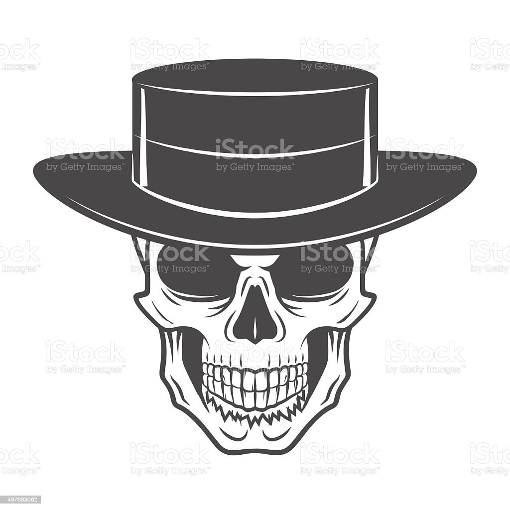 Wild West Skull With Hat Smiling Rover Template Wanted Die Stock ...