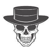 Wild west skull with hat. Smiling rover template. Wanted die