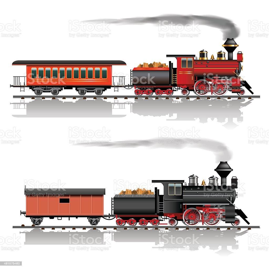 Wild west steam train vector art illustration