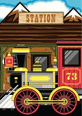 Wild West Style Train at Station