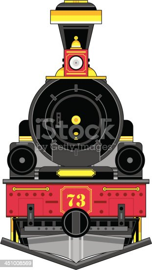 Vector Illustration of a cartoon Train Engine in a Wild West Style.