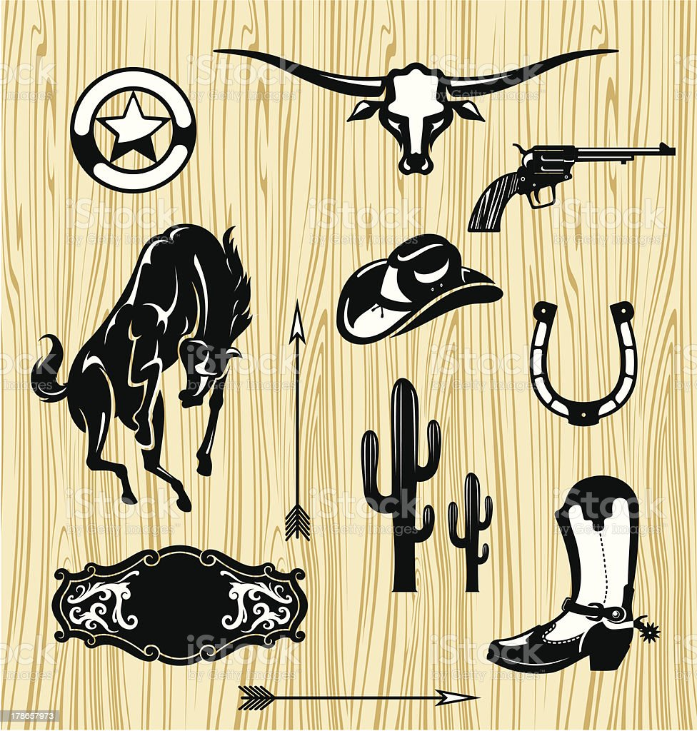Wild West Themed Objects vector art illustration