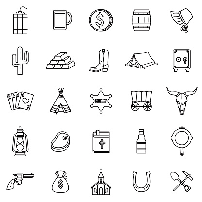 Wild West Thin Line Outline Icon Set