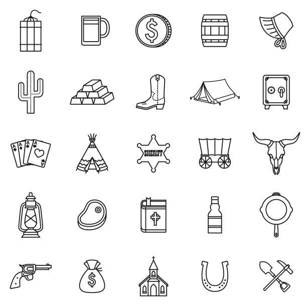 wilden westen dünne linie umriss-icon-set - cowboystiefel stock-grafiken, -clipart, -cartoons und -symbole