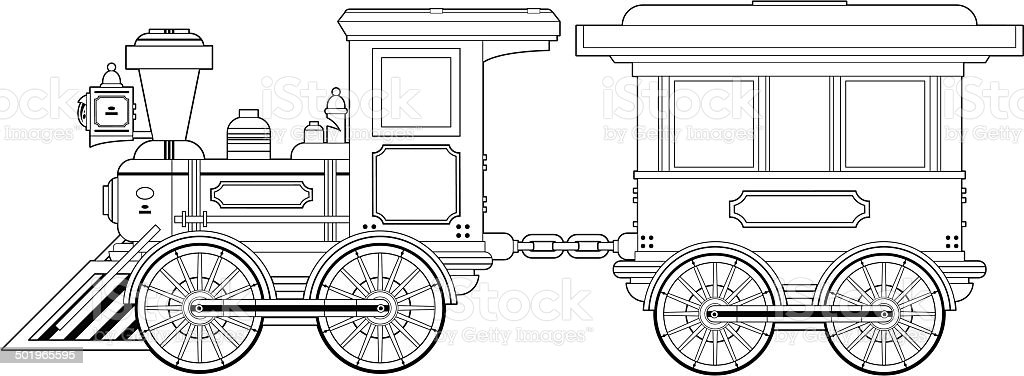 wild west train and carriage outline stock vector art