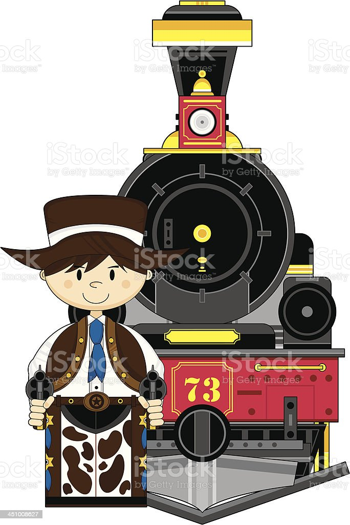 Wild West Train with Cowboy royalty-free stock vector art