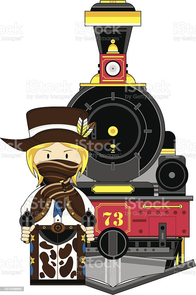 Wild West Train with Cowgirl royalty-free stock vector art