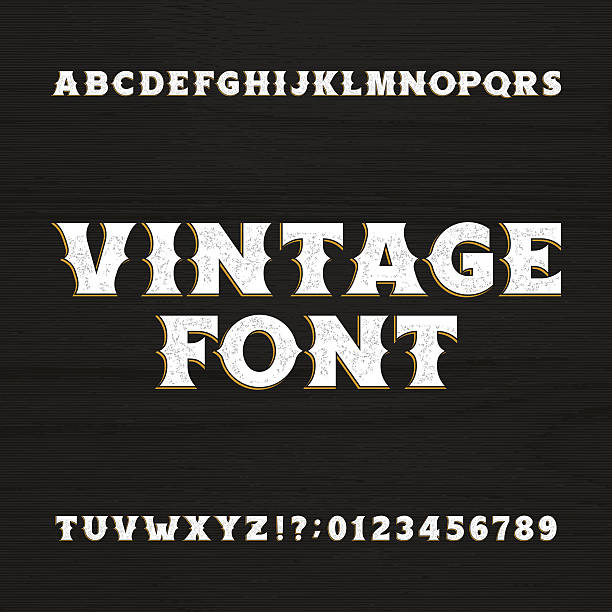 Wild west typeface. Retro distressed alphabet font. vector art illustration