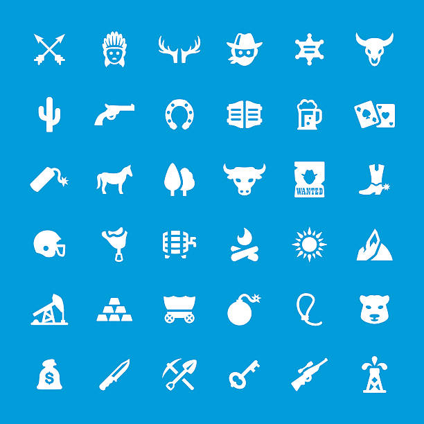 Wild West vector icons set vector art illustration