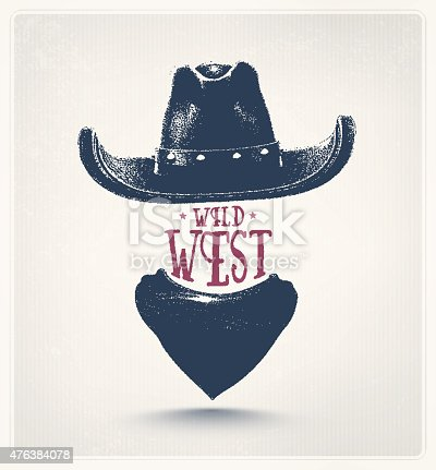 Cowboy hat and scarf, wild west. Illustration contains transparency and blending effects, eps 10