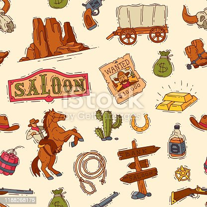 Wild west vector western cowboy or sheriff in wildlife desert with cactus illustration wildly character in hat with gun on rodeo wildwest background.