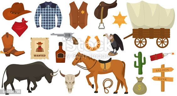 Wild west vector western cowboy or sheriff signs hat or horseshoe in wildlife desert with cactus illustration wildly horse character for rodeo set isolated on white background.