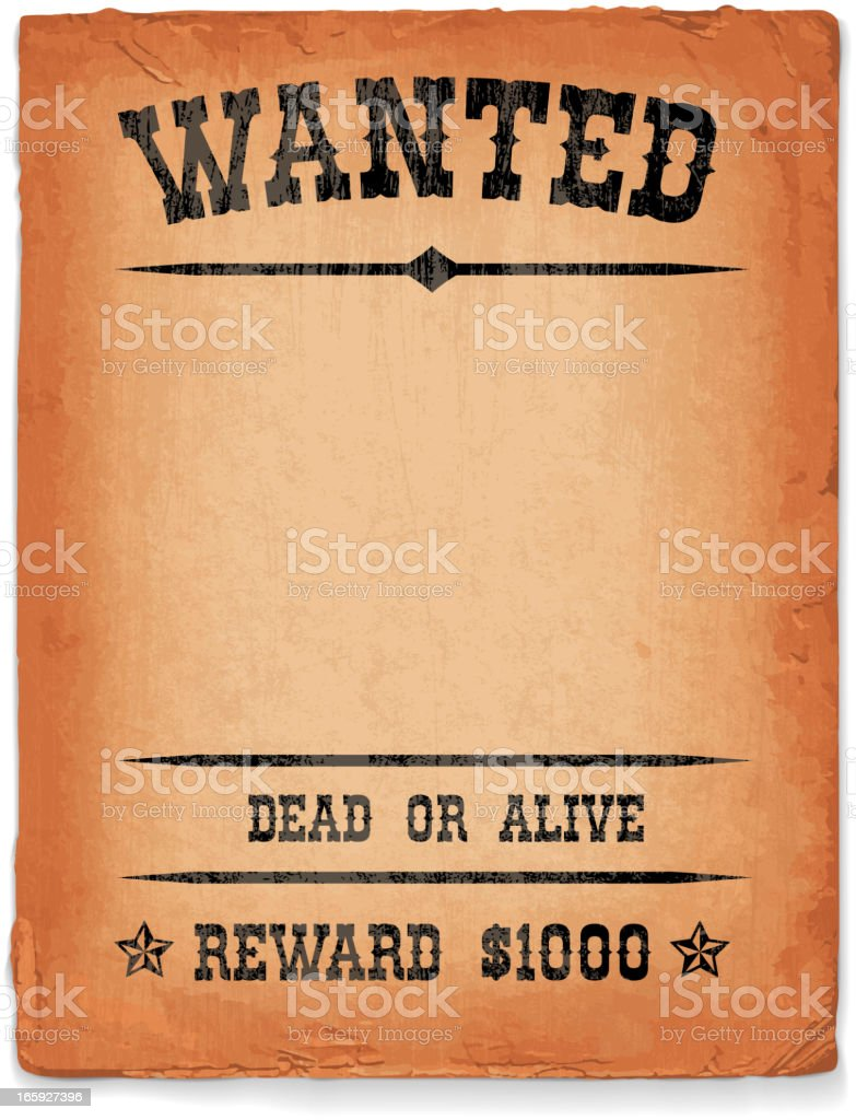 Wild West Wanted Sign On Vintage Grunge Poster Royalty Free Wild West Wanted  Sign On  Old Fashioned Wanted Poster