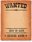 Wild West Wanted Sign on vintage grunge poster