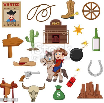 istock Wild west western collection set 1129563816