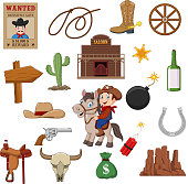 Vector illustration of Wild west western collection set