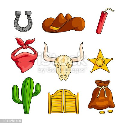Wild west with cowboy accessories set isolated on white background. Horseshoe, broad-brimmed hat, dynamite, bandana, skull with horns, sheriffs star, cactus, tavern wooden doors, bag of gold coins