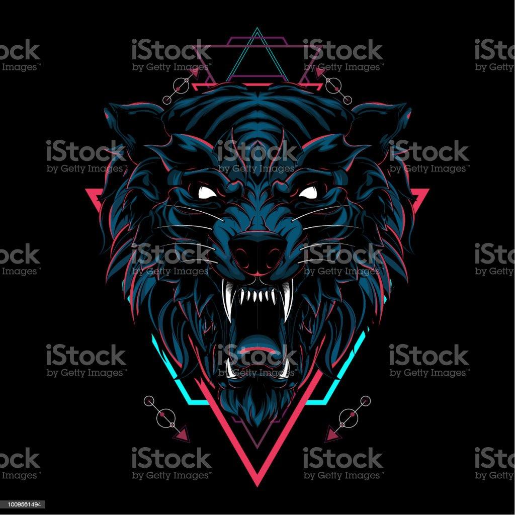 Geometría sagrada lobo salvaje ilustración de geometría sagrada lobo salvaje y más vectores libres de derechos de abstracto libre de derechos