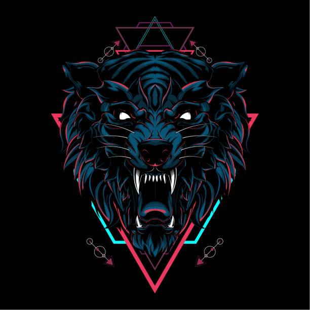 Wild wolf sacred geometry Wild wolf sacred geometry aggression stock illustrations