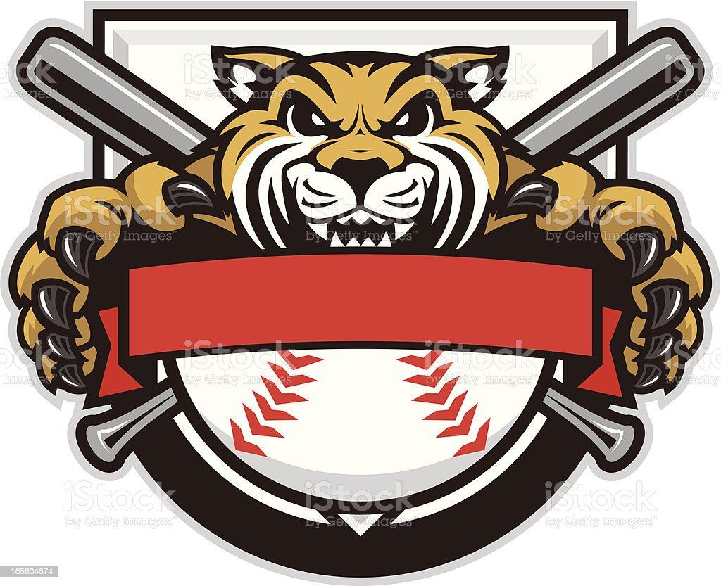 Wildcat Mascot Baseball Design royalty-free stock vector art