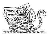 Hand-drawn vector drawing of a Wildcat Reading a Newspaper. Black-and-White sketch on a transparent background (.eps-file). Included files are EPS (v10) and Hi-Res JPG.