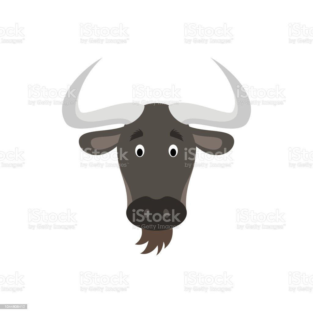 Wildebeest face in cartoon style for children. Animal Faces Vector illustration Series