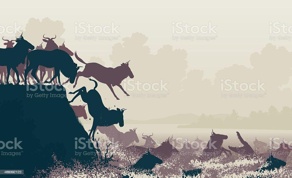 Wildebeest river crossing vector art illustration