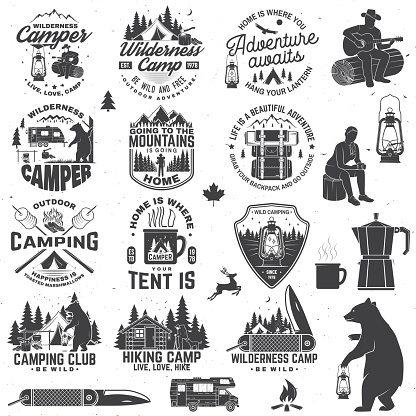 Wilderness camp. Be wild and free. Vector. Concept for badge, shirt or , print, stamp, patch. Vintage typography design with trailer, tent, campfire, bear, pocket knife and forest silhouette