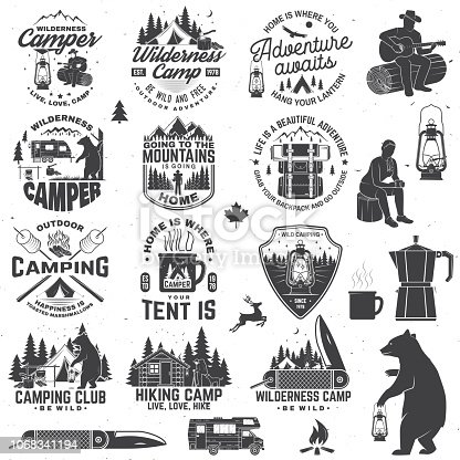 Wilderness camp. Be wild and free. Vector. Concept for badge, shirt or , print, stamp, patch or tee Vintage typography design with trailer, tent, campfire, bear, pocket knife and forest silhouette