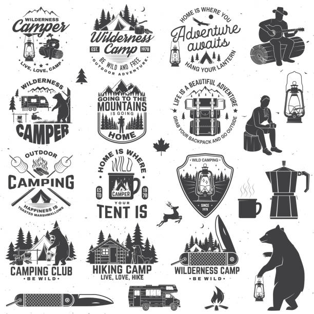 Wilderness camp. Be wild and free. Vector. Concept for badge, shirt or , print, stamp, patch. Vintage typography design with trailer, tent, campfire, bear, pocket knife and forest silhouette vector art illustration