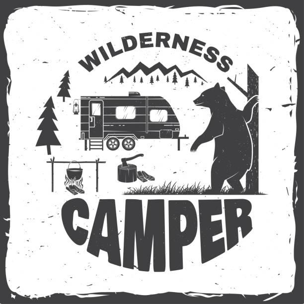 wildnis-camper. vektor-illustration. konzept für hemd oder symbol, drucken, stempel oder tee. - wohnwagenanhänger stock-grafiken, -clipart, -cartoons und -symbole