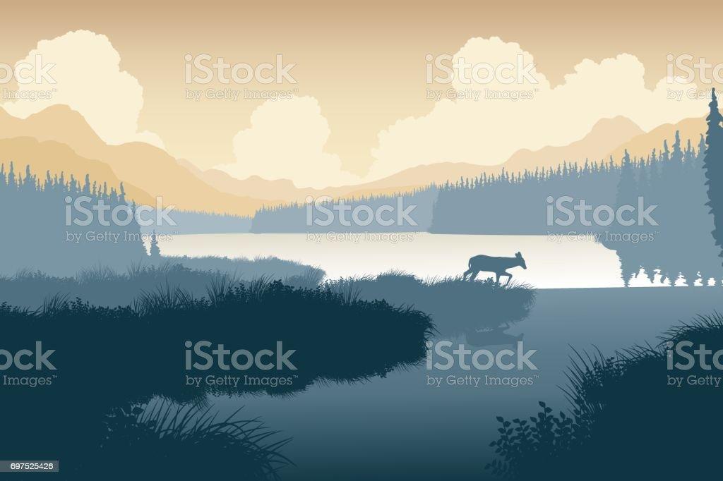 Wilderness deer vector art illustration