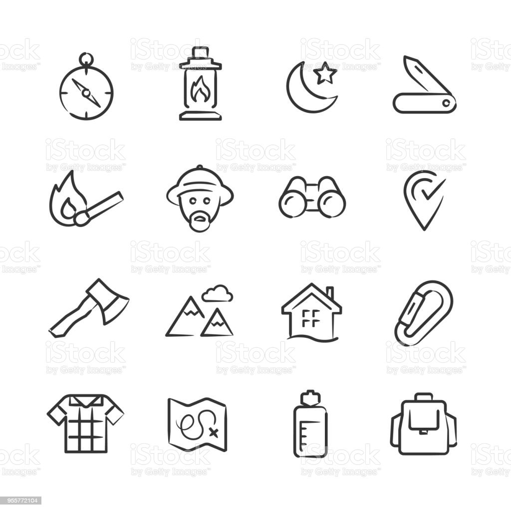 Wilderness & Exploration Icons — Sketchy Series vector art illustration