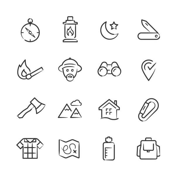 wilderness & exploration icons — sketchy series - plaid shirt stock illustrations