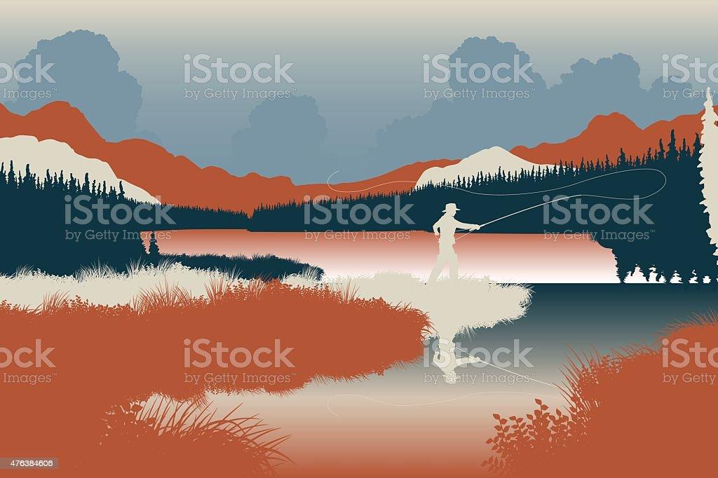 Wilderness fishing vector art illustration