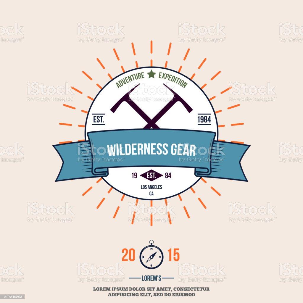 wilderness gear adventure badge graphic design logo emblem vector vector art illustration