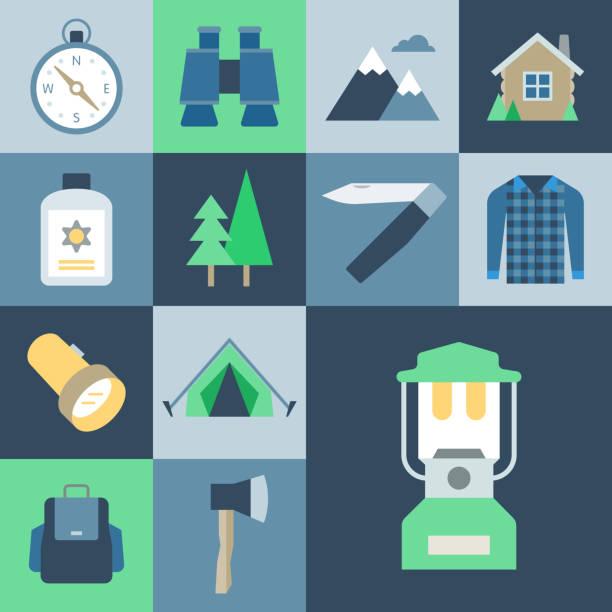wilderness icon set — grid series - plaid shirt stock illustrations