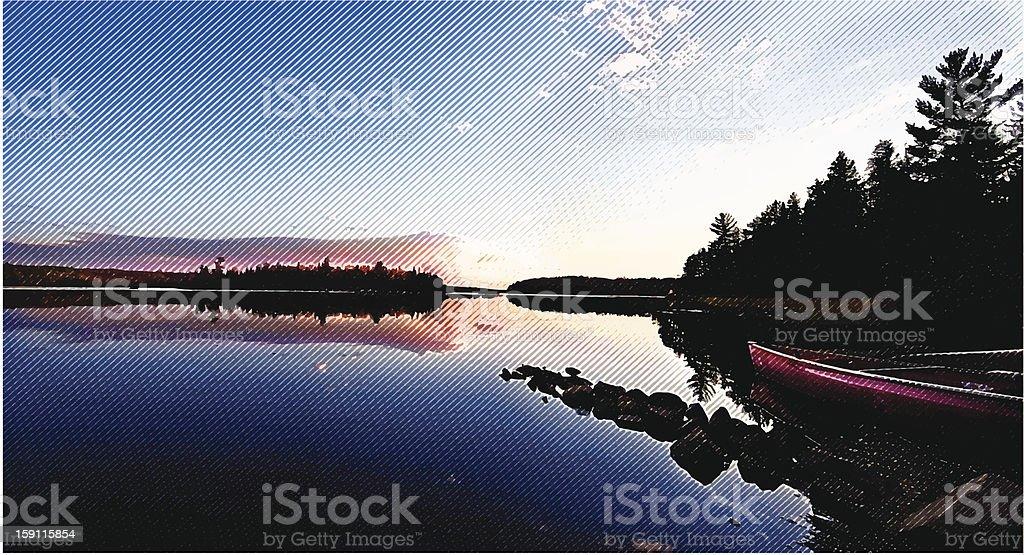 Wilderness Lake, Sunset and Canoe vector art illustration