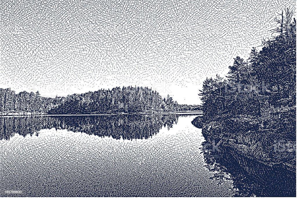 Wilderness Lake vector art illustration