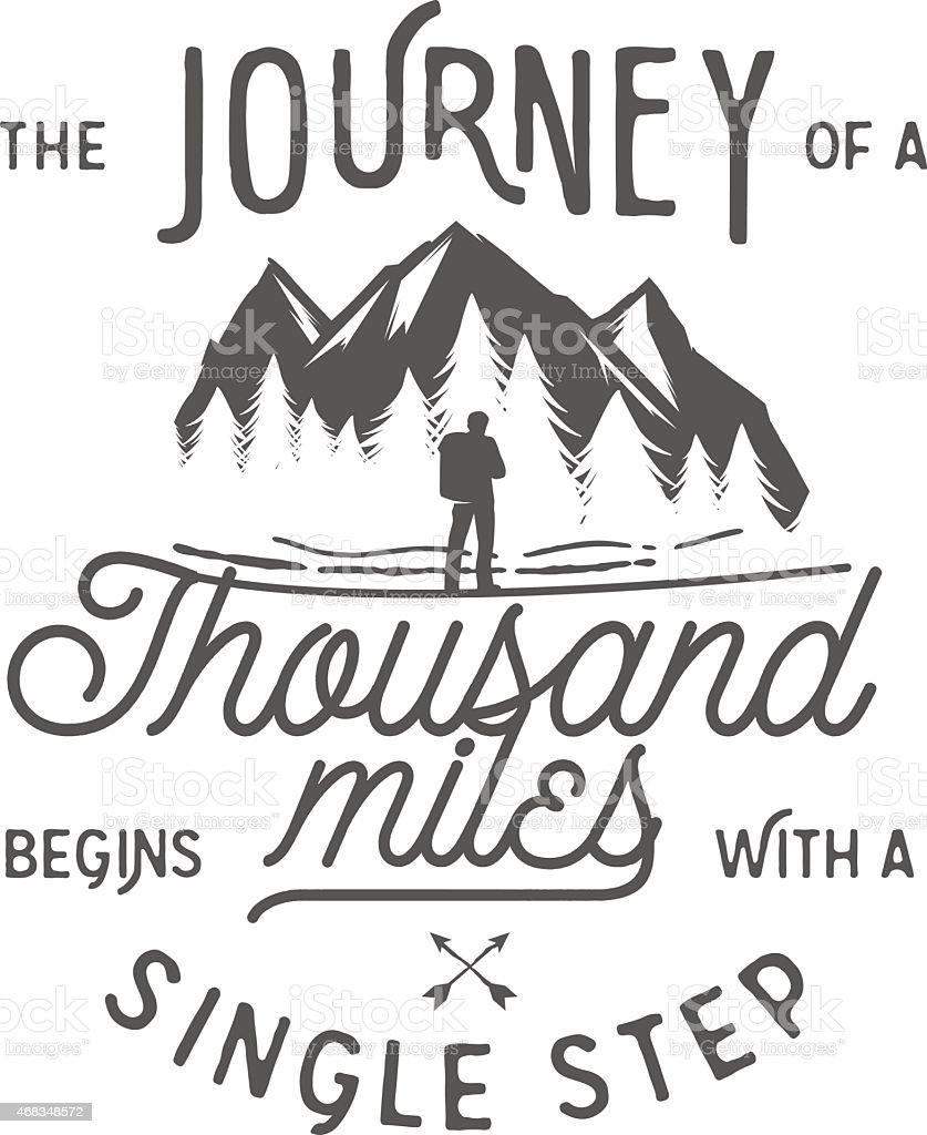 Wilderness quote typographic emblem vector art illustration