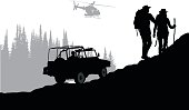 Silhouette vector illustration of a a search party on foot, by jeep and using a helicopter