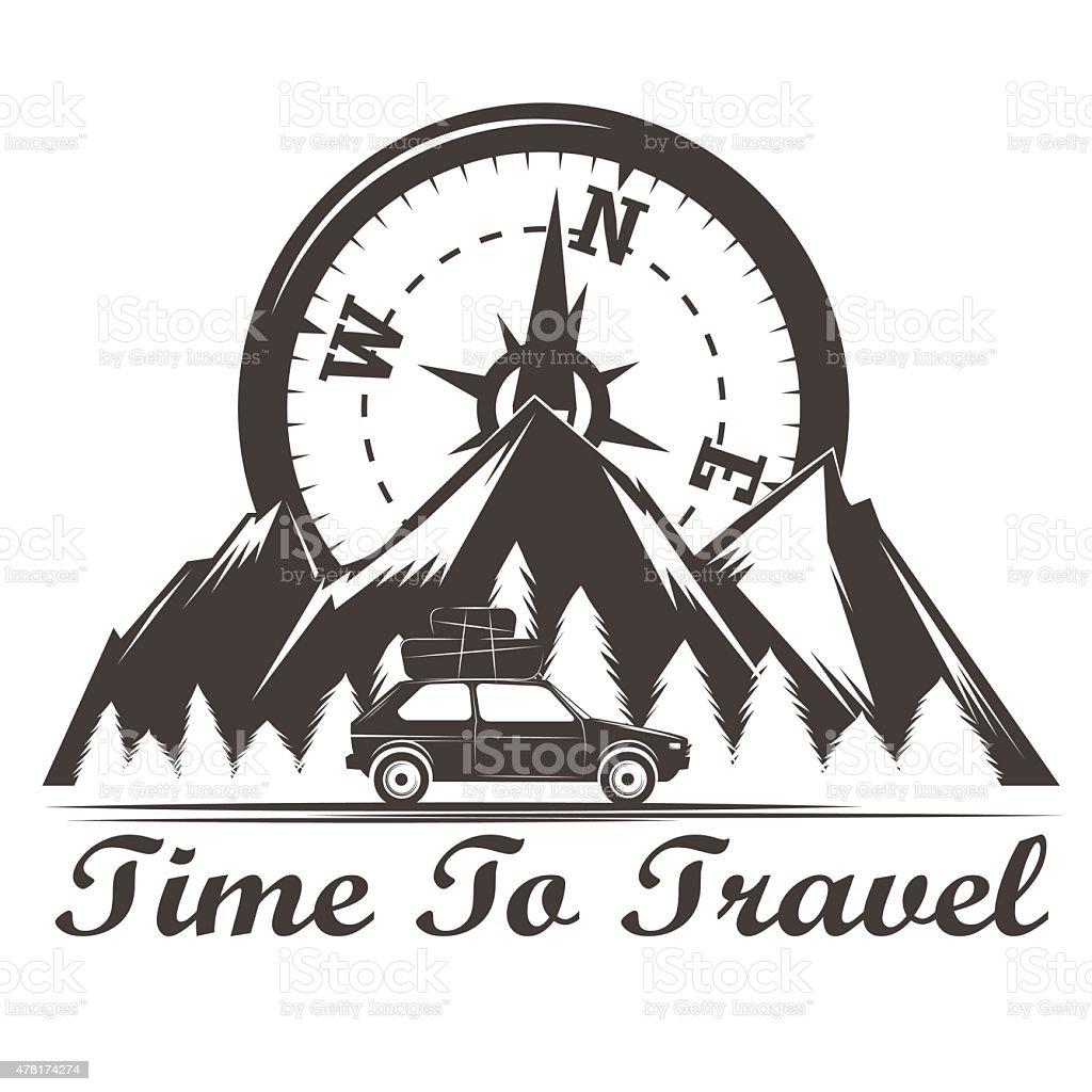 Wilderness travel emblem vintage vector art illustration