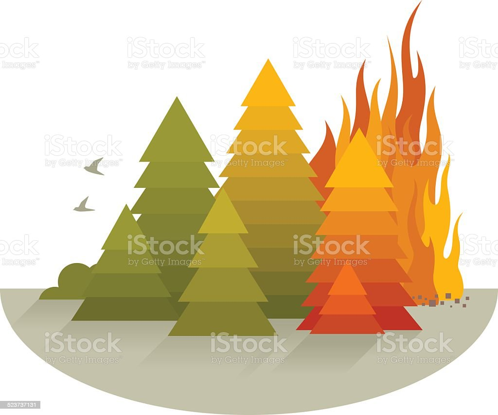 Wildfire Disaster Concept vector art illustration