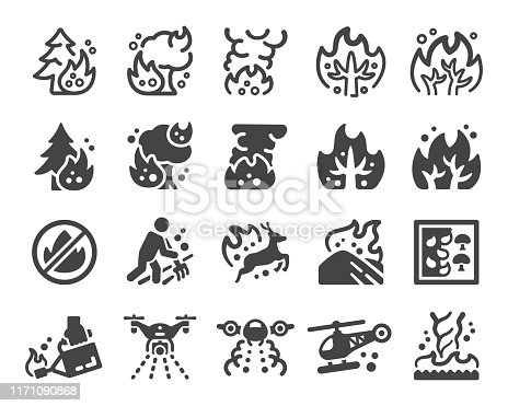 wildfire and fire disaster icon set,vector and illustration