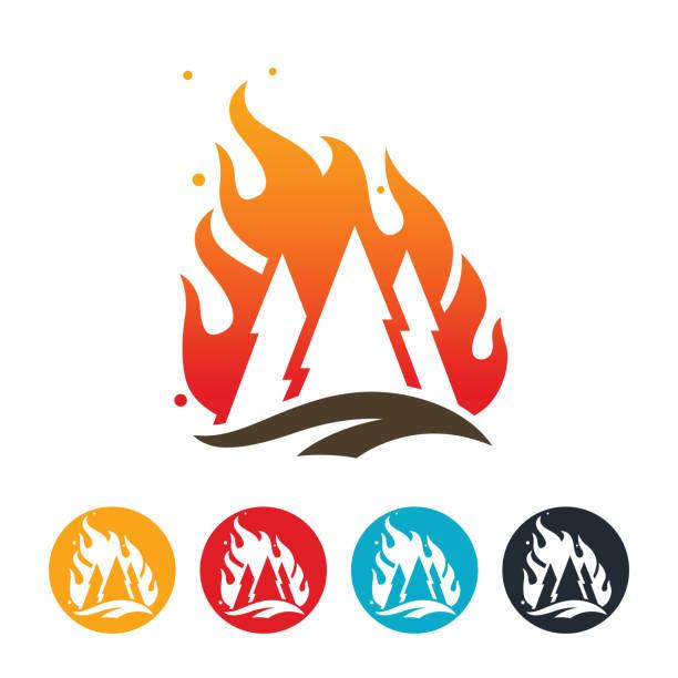 bildbanksillustrationer, clip art samt tecknat material och ikoner med wildfire ikonen - skog brand