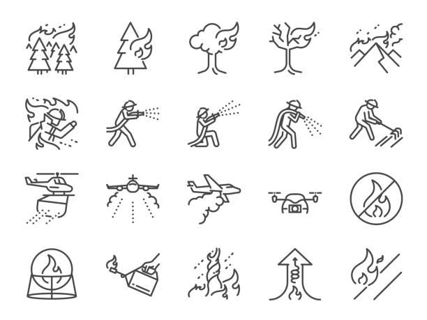 bildbanksillustrationer, clip art samt tecknat material och ikoner med wildfire linje ikonuppsättning. ingår ikonerna som brand storm, brandbekämpning, brandman, släcka, berg, bränning, skog och mer. - skog brand