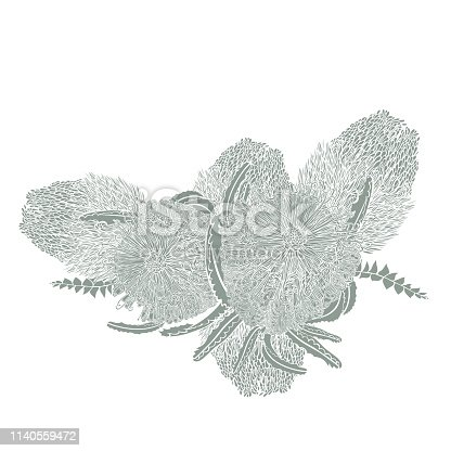Realistic Hand-drawn Australian Wildflower Wreath perfect for wedding invitations or scrapbooking fun.