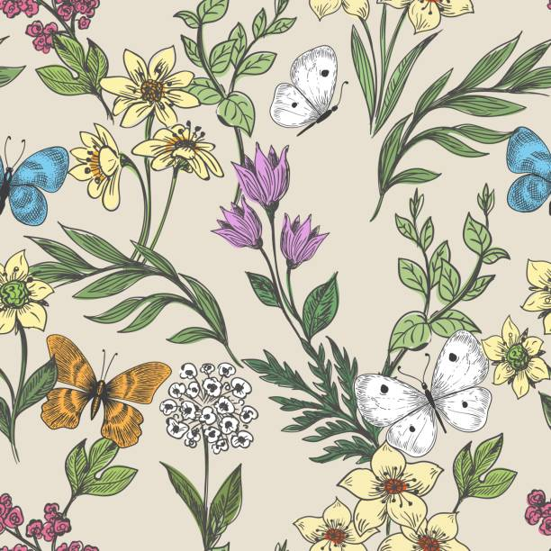 Wildflowers and butterflies background Backgrounds with wildflowers and butterflies. Seamless pattern floral background with hand drawn plants, vector illustration butterfly insect stock illustrations