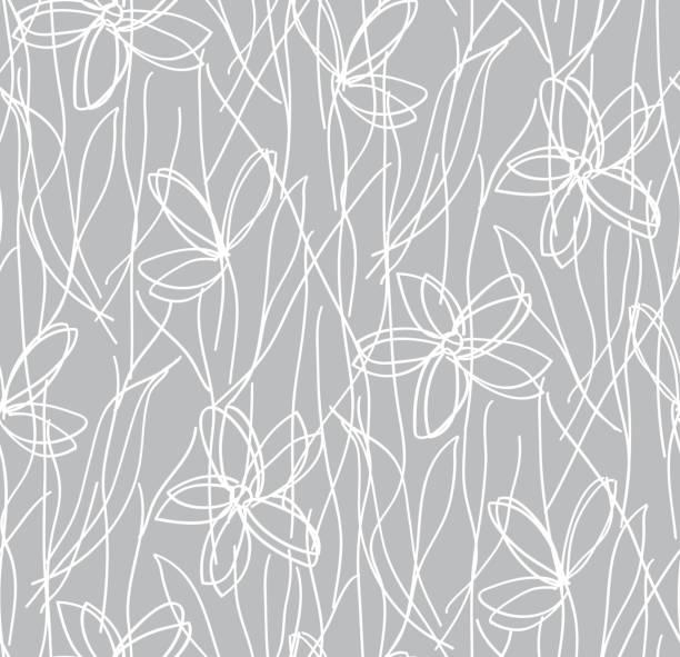 Wildblumen Kinder Zeichnung Musterdesign, botanische Textur. Kleine Doodle hand gezeichnete Blumen auf grauem Hintergrund, Tafel. – Vektorgrafik