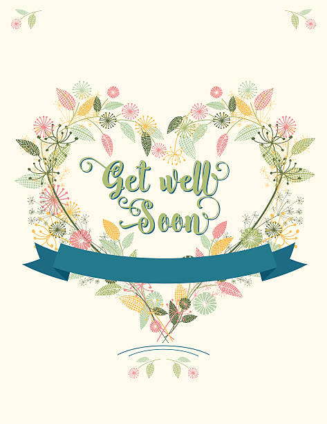 wildflowers floral  get well soon card - get well soon stock illustrations, clip art, cartoons, & icons